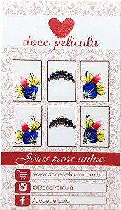 Adesivo de Unha Premium Flor Azul 109