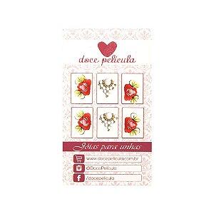 Adesivo de Unha Premium Flor Vermelha 119