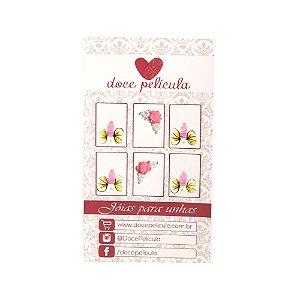 Adesivo de Unha Premium Flor Rosa 128 - 6un