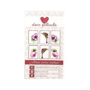 Adesivo de Unha Premium Flor Rosa e Roxa 131 - 6un