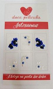 Adesivo de Unha Premium Flor Azul e Branca 133 - 6un
