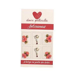 Adesivo de Unha Premium Flor Rosa 134 - 6un