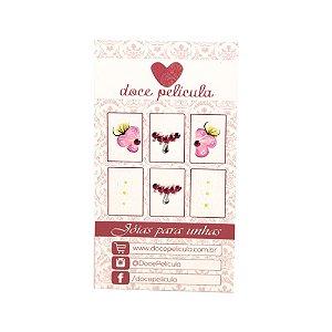 Adesivo de Unha Premium Flor Rosa e Florzinhas 135