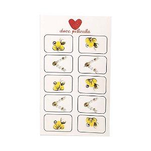 Adesivo de Unha Artesanal Jóia Flor Amarela 29 - 10un