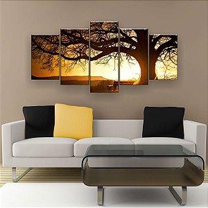 Quadro Decorativo Árvore Grande Nascer Do Sol 129x61cm Sala Quarto