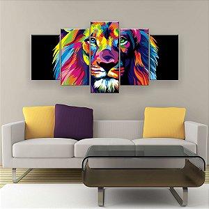 Quadro Decorativo Leão Color Print 129x61cm Sala Quarto