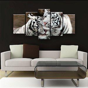 Quadro Decorativo Tigres Brancos 129x61cm Sala Quarto