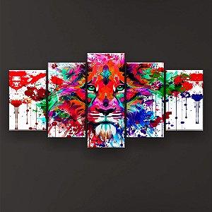 Quadro Decorativo Leão Psicodélico 129x61cm Sala Quarto
