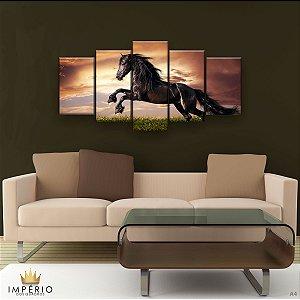 Quadro Decorativo Cavalo Negro Horse 129x61cm Sala Quarto
