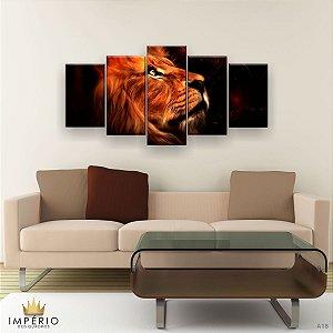 Quadro Decorativo Leão Perfil Aquarela 129x61cm Sala Quarto