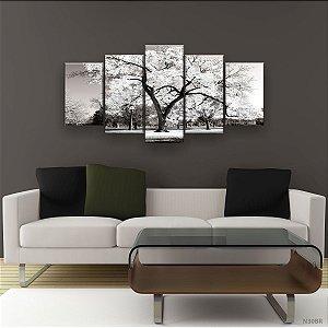 Quadro Decorativo Árvore Grande Branca 129x61cm Sala Quarto