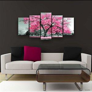 Quadro Decorativo Árvore Grande Rosa Claro 129x61cm Sala Quarto