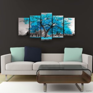 Quadro Decorativo Árvore Grande Turquesa 129x61cm Sala Quarto