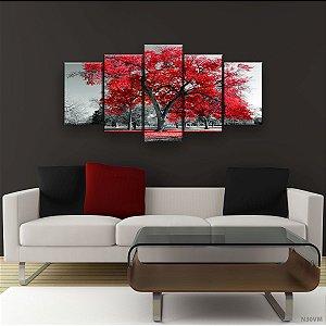 Quadro Decorativo Árvore Grande Vermelha 129x61cm Sala Quarto