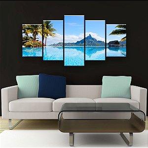Quadro Decorativo Paisagem Bora Bora 129x61cm Sala Quarto