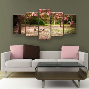 Quadro Decorativo Flores De Cerejeira Banco 129x61cm Sala Quarto