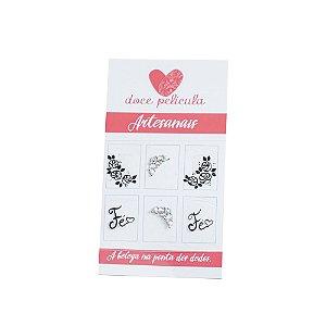 Adesivo de Unha Artesanal Flores e Fé-150 - 6un
