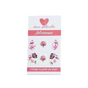 Adesivo de Unha Artesanal Flores 152 - 6un