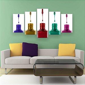 Quadro Decorativo 5 Vidros De Esmaltes 129x61cm Sala Quarto