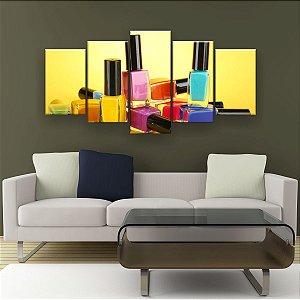 Quadro Decorativo Esmaltes Fundo Amarelo 129x61cm Sala Quarto