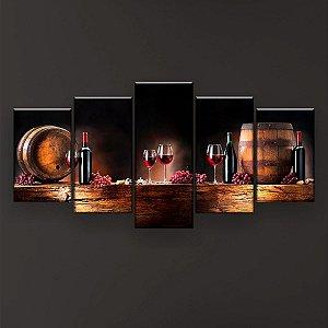 Quadro Decorativo Vinho Uvas 129x61cm Sala Quarto