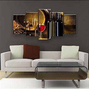 Quadro Decorativo Vinho Torneira Barril 129x61cm Sala Quarto