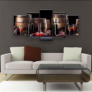Quadro Decorativo Vinho Quatro Barris 129x61cm Sala Quarto
