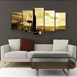 Quadro Decorativo Vinho Pôr Do Sol 129x61cm Sala Quarto