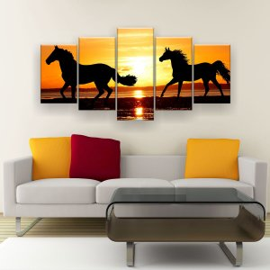Quadro Decorativo Cavalos Ao Pôr Do Sol 129x61cm Sala Quarto