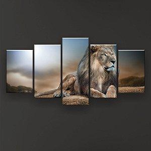 Quadro Decorativo Leão Dourado 129x61cm Sala Quarto