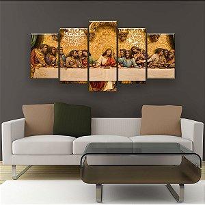 Quadro Decorativo Santa Ceia Dourado 129x61cm Sala Quarto