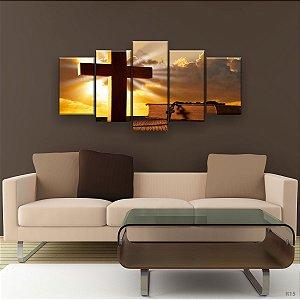 Quadro Decorativo Terço E Bíblia 129x61cm Sala Quarto