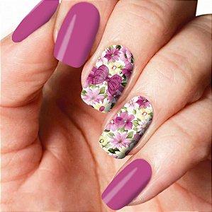Adesivo de Unha Floral Brasil Lilás 114