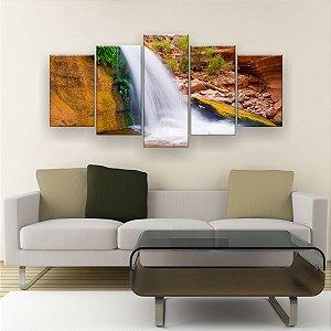 Quadro Decorativo Cachoeira No Deserto 129x61cm Sala Quarto