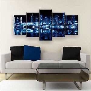 Quadro Decorativo Cidade Luzes Azuis 129x61cm Sala Quarto