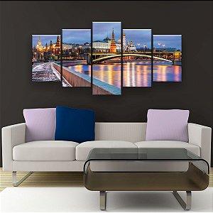 Quadro Decorativo Rio Moskva Em Moscou 129x61cm Sala Quarto