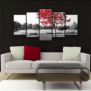 Quadro Decorativo Banco Árvore Vermelha 129x61cm Sala Quarto