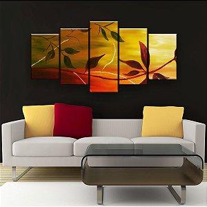 Quadro Decorativo Pintura Das Folhas 129x61cm Sala Quarto