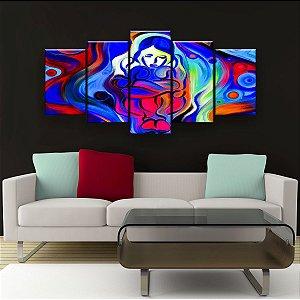 Quadro Decorativo Pintura Moça Encolhida 129x61cm Sala Quarto