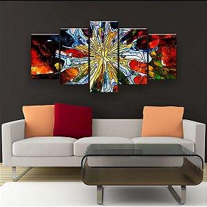 Quadro Decorativo Pintura Vidro Padrão 129x61cm Sala Quarto