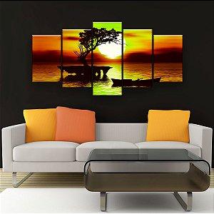 Quadro Decorativo Pôr Do Sol Árvore Canoa 129x61cm Sala Quarto