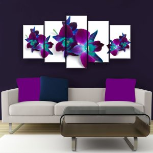 Quadro Decorativo Flor Roxa 129x61cm Sala Quarto