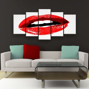 Quadro Decorativo Boca 129x61cm Sala Quarto