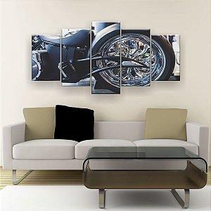 Quadro Decorativo Roda Moto 129x61cm Sala Quarto