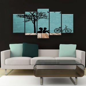 Quadro Decorativo Tree Girl And Boy 129x61cm Sala Quarto