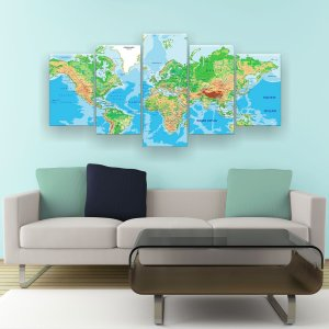 Quadro Decorativo Mapa Mundi Color 129x61cm Sala Quarto