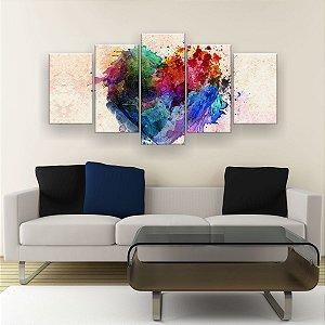 Quadro Decorativo Coração De Tinta 129x61cm Sala Quarto