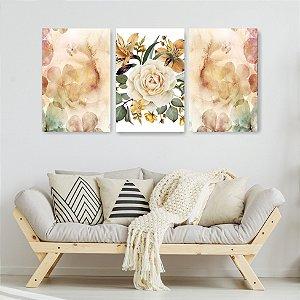 Quadro Decorativo Flor Grande 115x57cm Sala Quarto