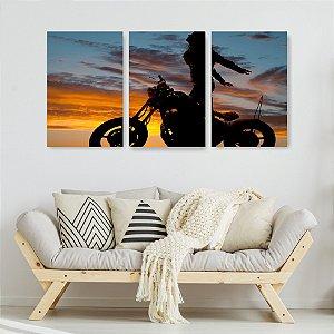 Quadro Decorativo Mulher Na Moto 115x57cm Sala Quarto