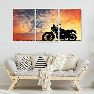 Quadro Decorativo Moto Pôr Do Sol 115x57cm Sala Quarto